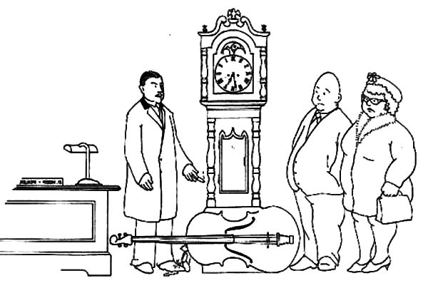 Grandfather Clock, : Grandfather Clock in Antique Store Coloring Pages