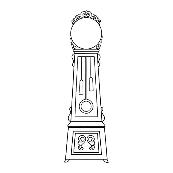 Grandfather Clock, : Grandfather Clock with Big Mirror Coloring Pages