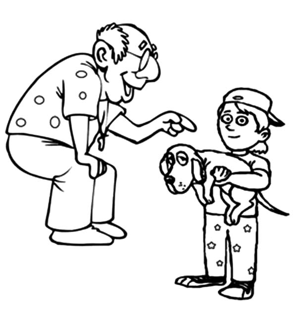 Grandfather, Grandfather Laughing At My Dog Coloring Pages: Grandfather Laughing at My Dog Coloring Pages