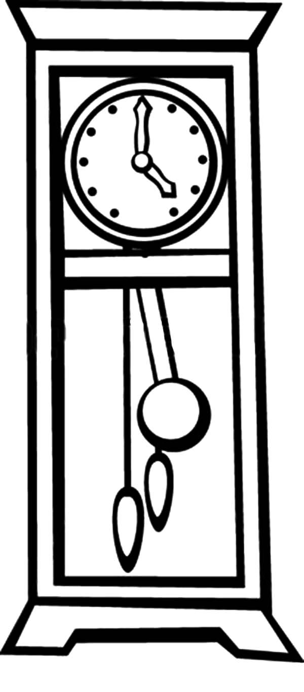 Grandfather Clock, : Grandfather Pendulum Clock Coloring Pages