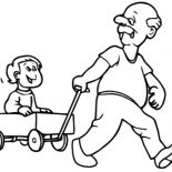 Grandfather, Grandfather Pulling Me On Cart Coloring Pages: Grandfather Pulling Me on Cart Coloring Pages