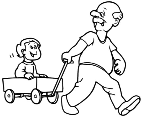 Grandfather, : Grandfather Pulling Me on Cart Coloring Pages