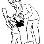 Grandfather, Grandfather Show Me The Right Way To Hold A Bat Coloring Pages: Grandfather Show Me the Right Way to Hold a Bat Coloring Pages
