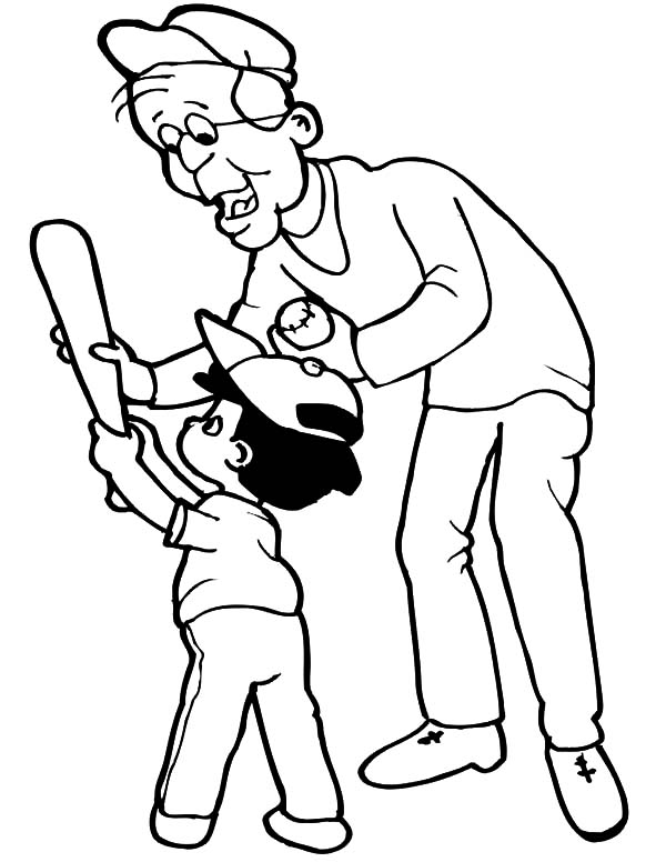 Grandfather, : Grandfather Show Me the Right Way to Hold a Bat Coloring Pages