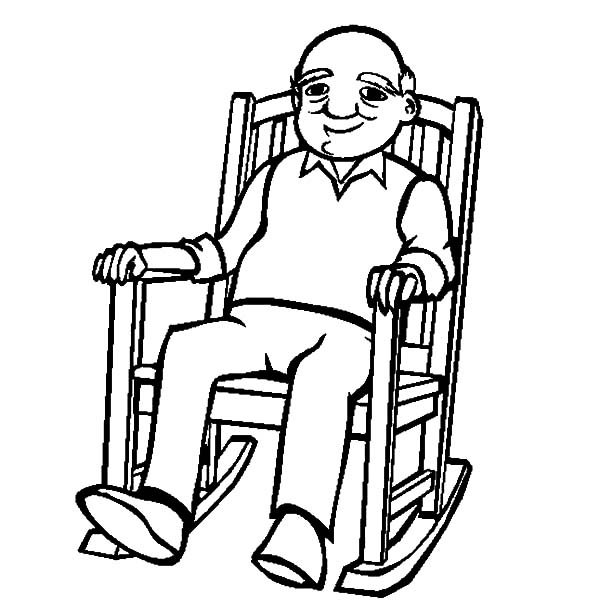 Grandfather, : Grandfather Sitting Rocking Chair Coloring Pages