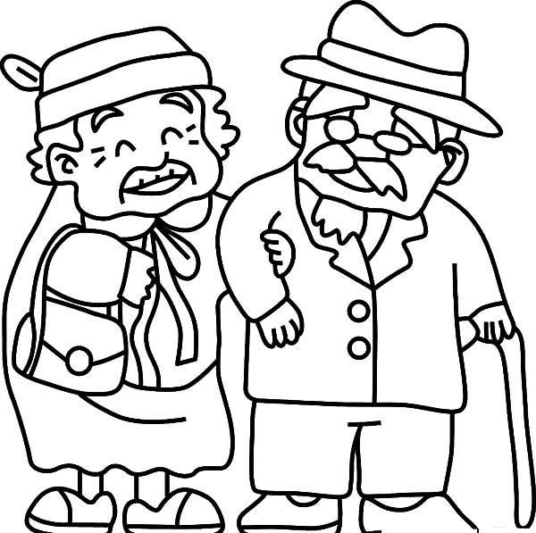 Grandfather, : Grandfather Take Grandma to Walk Coloring Pages