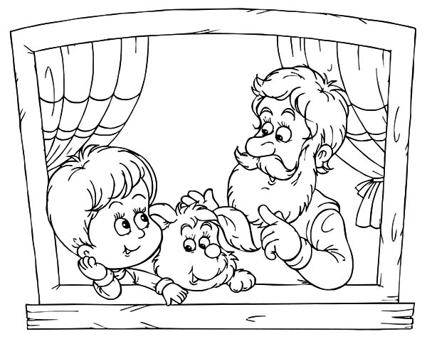 Grandfather, : Grandfather Talking with His Grandchild Coloring Pages