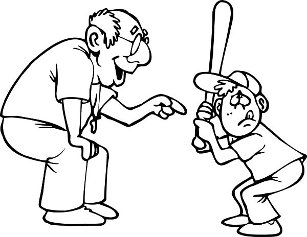 Grandfather, : Grandfather Teach Me Playing Baseball Coloring Pages
