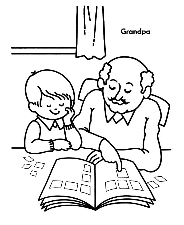 Grandfather, : Grandfather Teach Me to Read Coloring Pages