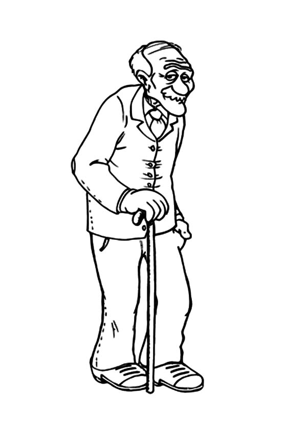 Grandfather, : Grandfather Walking Slowly Coloring Pages