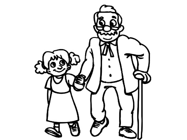 Grandfather, : Grandfather Walking with His Grandchildren Coloring Pages