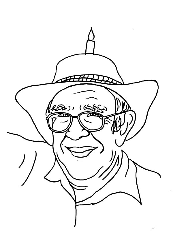 Grandfather, : Grandfather Wearing Hat with Candle on it Coloring Pages