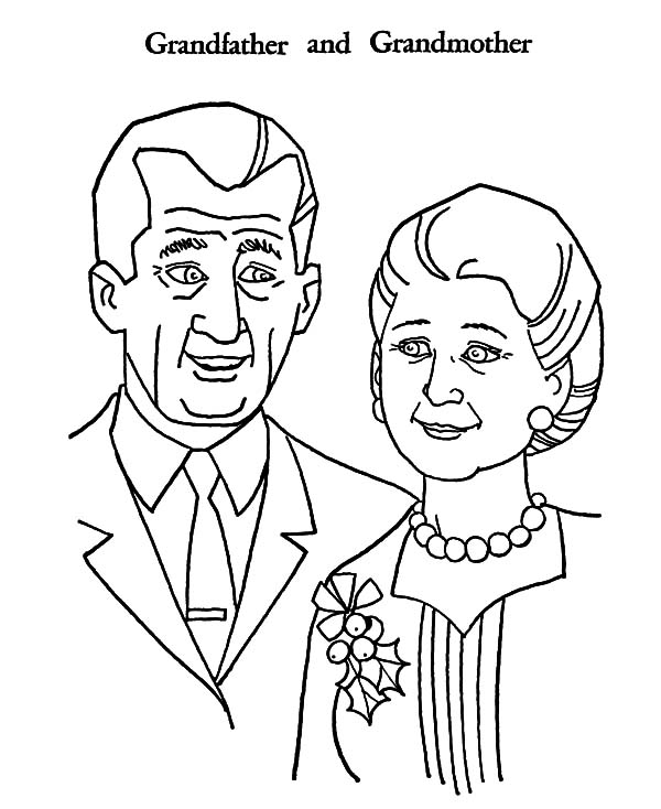 Grandfather, : Grandfather and Grandmother Coloring Pages