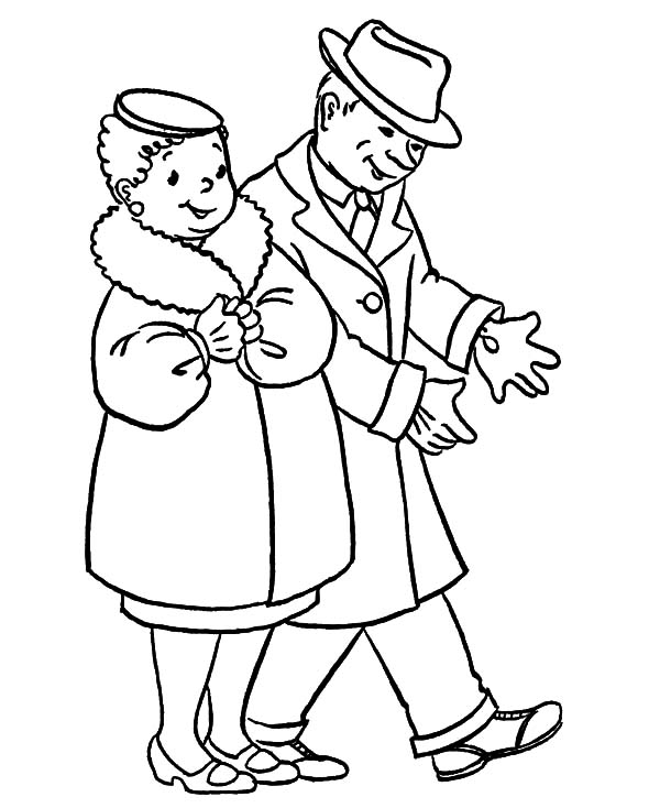 Grandfather, : Grandfather and Grandmother Going to Party Coloring Pages