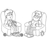 Grandfather, Grandfather And Grandmother Lazing In Living Room Coloring Pages: Grandfather and Grandmother Lazing in Living Room Coloring Pages