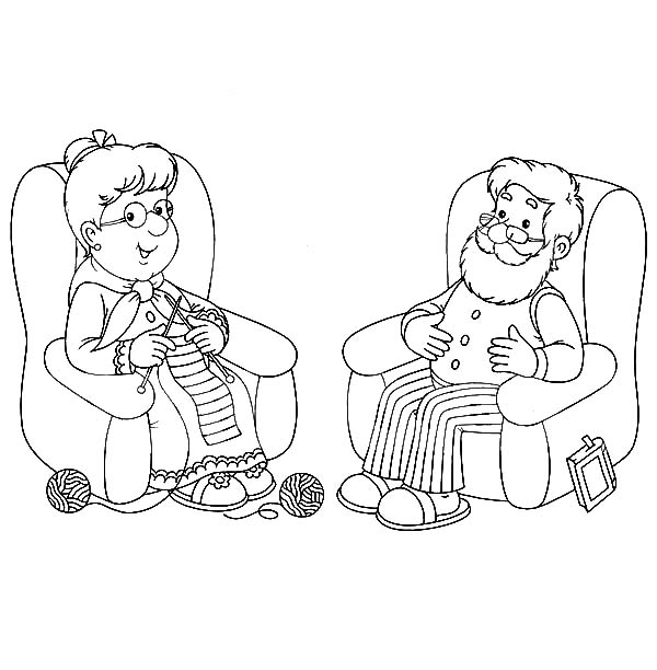 Grandfather, : Grandfather and Grandmother Lazing in Living Room Coloring Pages