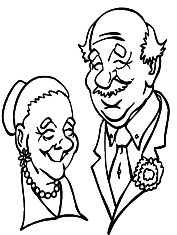 Grandfather, : Grandfather and Grandmother Picture Coloring Pages