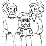 Grandfather, Grandfather And Grandmother Take Picture With Me Coloring Pages: Grandfather and Grandmother Take Picture with Me Coloring Pages