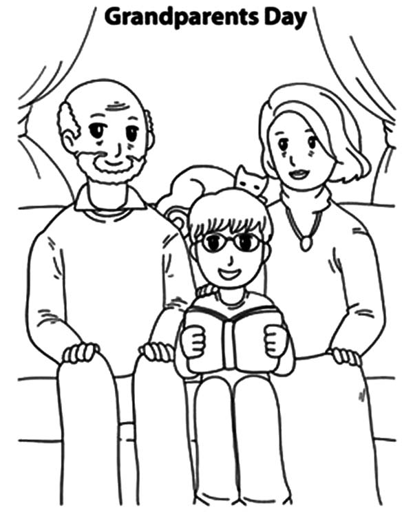 Grandfather, : Grandfather and Grandmother Take Picture with Me Coloring Pages