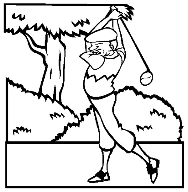 Grandfather, : Grandfather is Golf Athlete Coloring Pages