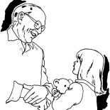 Grandfather, Grandfather Is Playing With Grandchildren Coloring Pages: Grandfather is Playing with Grandchildren Coloring Pages