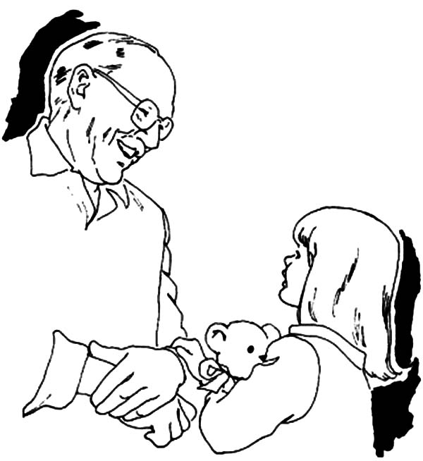 Grandfather, : Grandfather is Playing with Grandchildren Coloring Pages