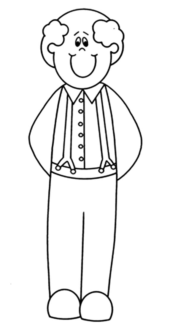 Grandfather, : Grandfather is Smiling Coloring Pages