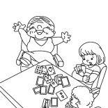 Grandmother, Grandmother Beat Her Grandchildren In Playing Card Coloring Pages: Grandmother Beat Her Grandchildren in Playing Card Coloring Pages