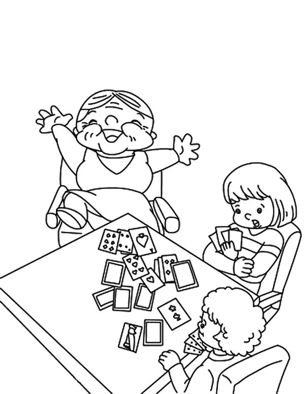 Grandmother, : Grandmother Beat Her Grandchildren in Playing Card Coloring Pages