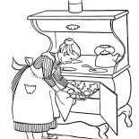 Grandmother, Grandmother Cooking Delicious Cookies Coloring Pages: Grandmother Cooking Delicious Cookies Coloring Pages