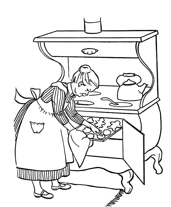 Grandmother, : Grandmother Cooking Delicious Cookies Coloring Pages