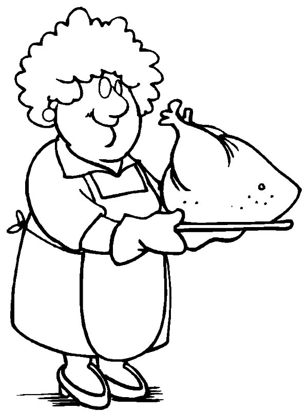 Grandmother, : Grandmother Cooking Turkey Coloring Pages