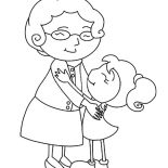 Grandmother, Grandmother Hug Her Grandchild Coloring Pages: Grandmother Hug Her Grandchild Coloring Pages