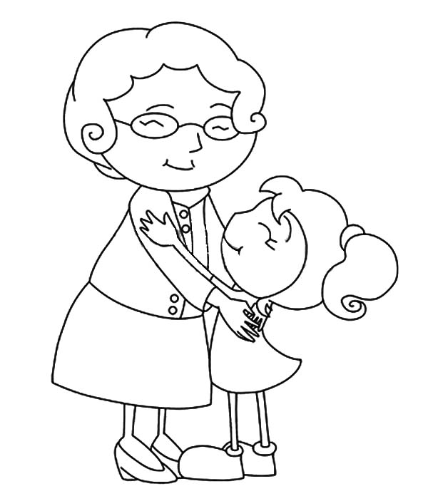 Grandmother, : Grandmother Hug Her Grandchild Coloring Pages