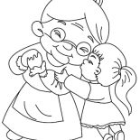 Grandmother, Grandmother Kissed By Her Granddaughter Coloring Pages: Grandmother Kissed by Her Granddaughter Coloring Pages