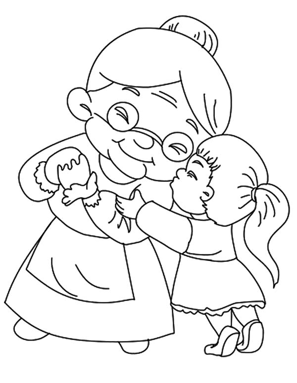 Grandmother, : Grandmother Kissed by Her Granddaughter Coloring Pages