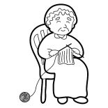 Grandmother, Grandmother Knitting Coloring Pages: Grandmother Knitting Coloring Pages