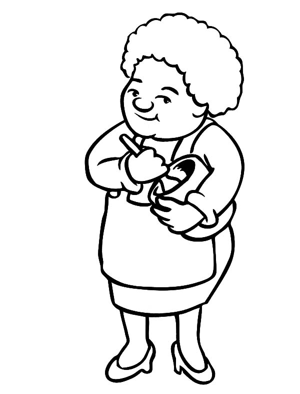 Grandmother, : Grandmother Make Cake Batter Coloring Pages