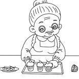 Grandmother, Grandmother Make Cupcakes Coloring Pages: Grandmother Make Cupcakes Coloring Pages