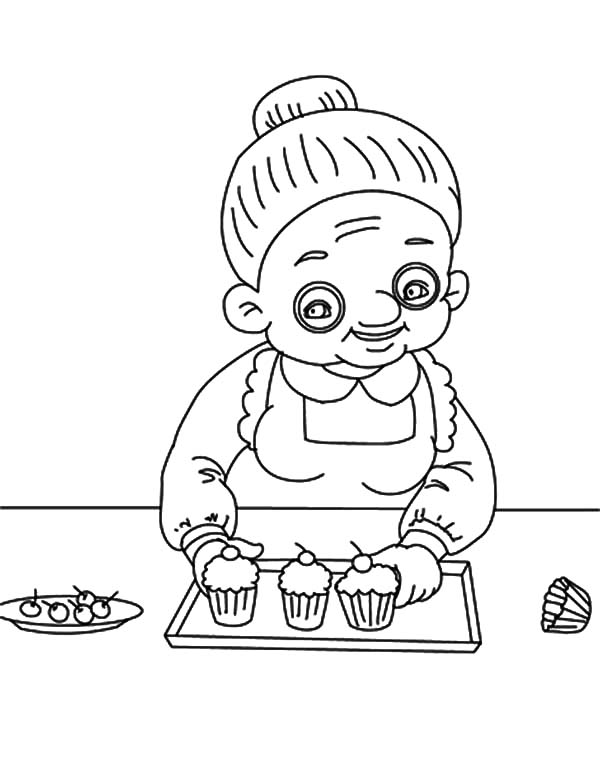 Grandmother, : Grandmother Make Cupcakes Coloring Pages