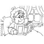 Grandmother, Grandmother Read A Book On Her Bed Coloring Pages: Grandmother Read a Book on Her Bed Coloring Pages