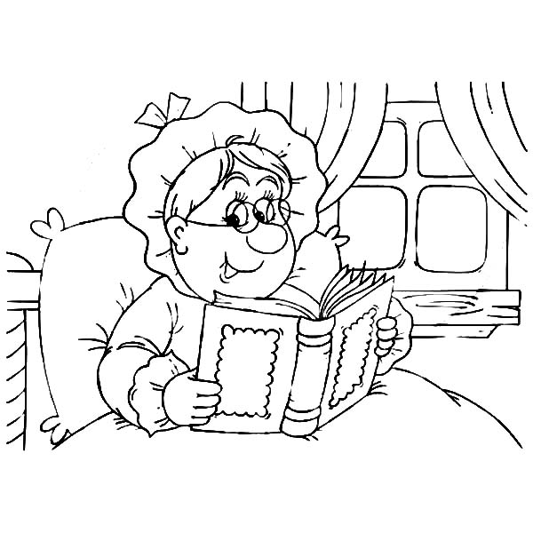 Grandmother, : Grandmother Read a Book on Her Bed Coloring Pages
