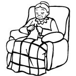 Grandmother, Grandmother Sitting On Her Lazy Chair Coloring Pages: Grandmother Sitting on Her Lazy Chair Coloring Pages