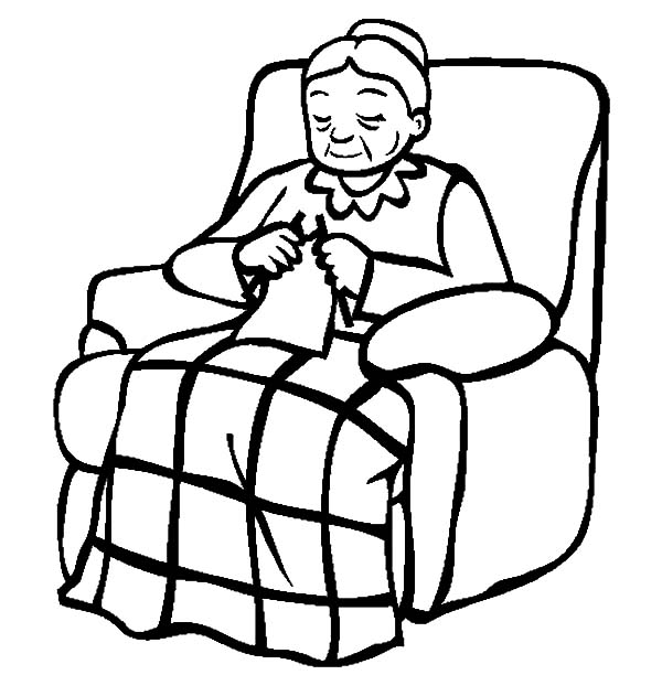Grandmother, : Grandmother Sitting on Her Lazy Chair Coloring Pages