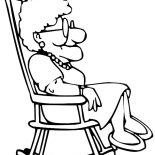 Grandmother, Grandmother Sitting On Rocking Chair Coloring Pages: Grandmother Sitting on Rocking Chair Coloring Pages