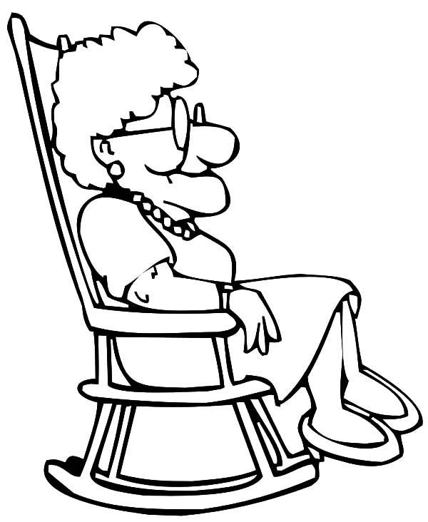 Grandmother, : Grandmother Sitting on Rocking Chair Coloring Pages