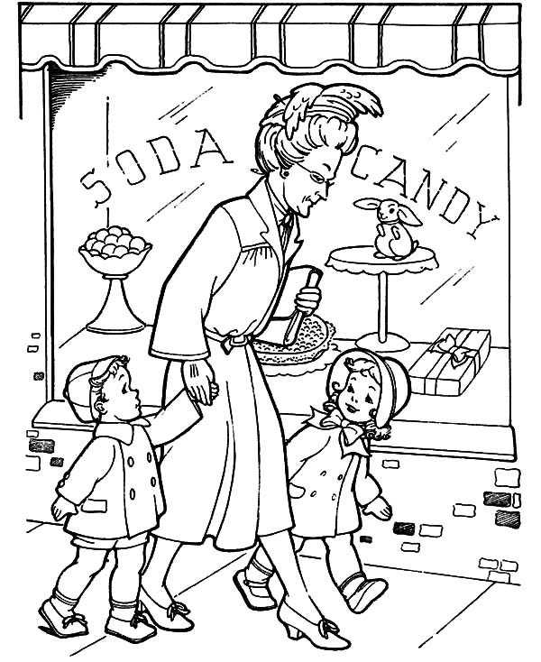 Grandmother, : Grandmother Take He Grandchild Walk Around Coloring Pages