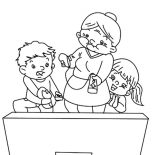 Grandmother, Grandmother Turn The TV On Coloring Pages: Grandmother Turn the TV On Coloring Pages