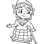 Grandmother, Grandmother Walk With Walking Stick Coloring Pages: Grandmother Walk with Walking Stick Coloring Pages