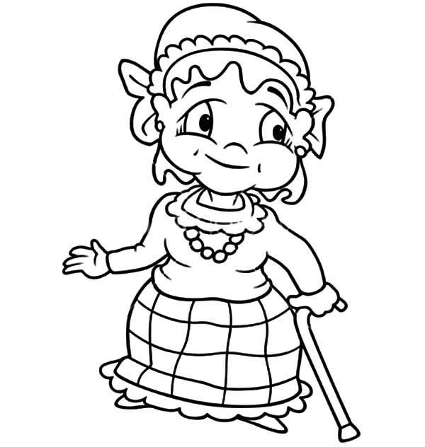 Grandmother, : Grandmother Walk with Walking Stick Coloring Pages